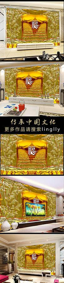 高档琉璃阶梯竹子中式风格电视背景墙装饰画