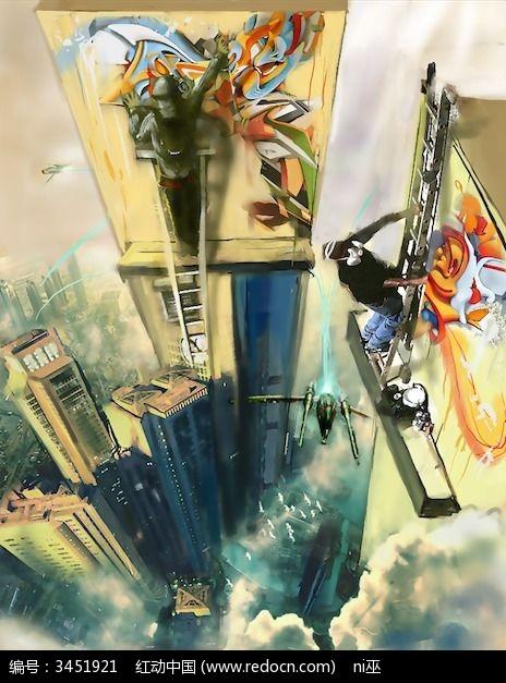 高楼涂鸦墙画图片