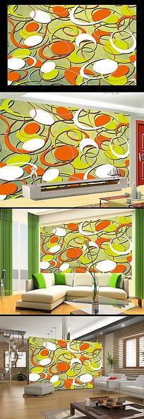 艺术圆弧空调电视背景墙