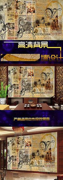 古怀旧欧式古典背景墙壁纸