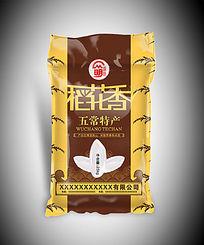 咖啡色稻花香米袋包装设计