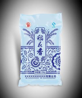 蓝色稻花香包装袋设计