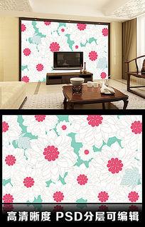简约花朵手绘小花线稿客厅电视背景墙图片