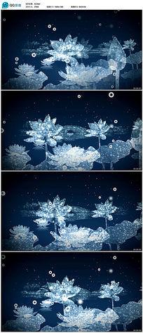 蓝色梦幻荷花视频素材