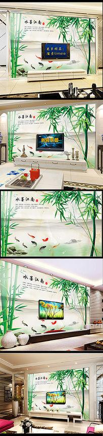 水墨江南竹子国画背景墙