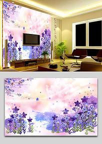 韩式浪漫花园水彩背景墙壁画