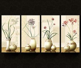 花瓶插花欧式装饰画