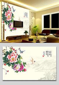 牡丹图背景墙壁画