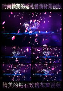 钻石、玫瑰花瓣高清婚礼视频 mov