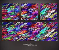 抽象色彩无框画 PSD
