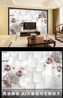 3D立体方形简易手绘花朵客厅电视背景墙图片