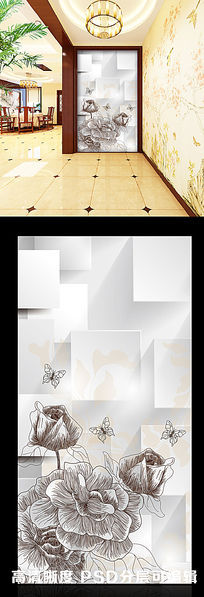 3D立体方形简易手绘花朵玄关隔断背景墙图片