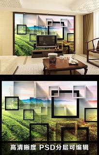 3D立体矩形田野风光客厅电视背景墙