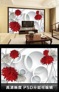 3D立体圆圈纯色菊花客厅电视背景墙图片