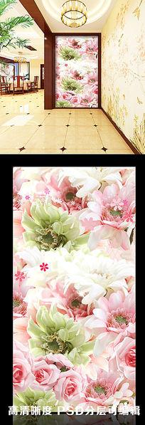 粉色玫瑰唯美浪漫玄关隔断背景墙图片