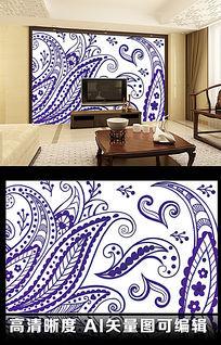简易手稿卡通俏皮蓝紫色客厅电视背景墙图片
