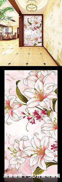 13款 简约花纹花朵纯色立体玄关隔断背景墙图片psd素材设计下载