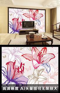 简约花朵现代纯色百合客厅电视背景墙图片