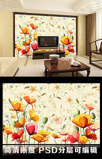 11款 简约花纹花朵线稿纯色蝴蝶客厅电视背景墙图片psd下载