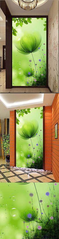 绿色手绘花朵玄关背景