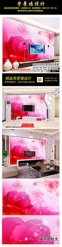 梦幻唯美花卉电视背景墙