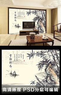 山水竹子水墨画风格客厅电视背景墙图片