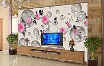 温馨时尚花纹电视背景墙