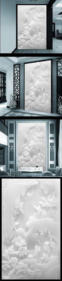 高档白玉雕玄关背景墙设计