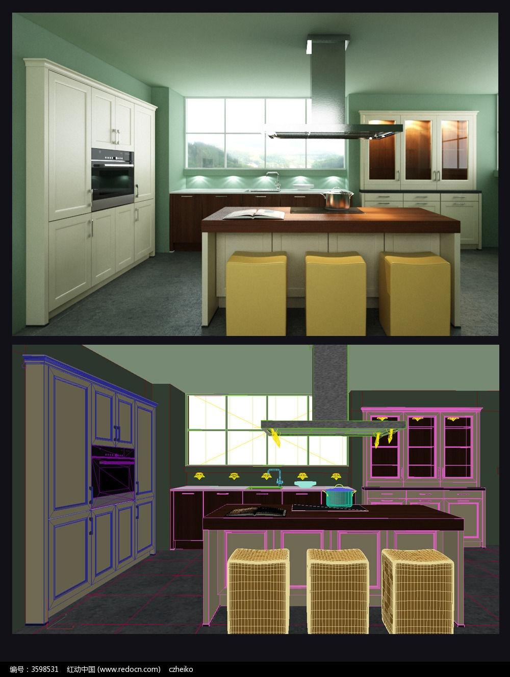 欧式开放式厨房3d模型