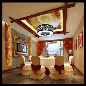 中式饭店雅间3d模型效果图图片