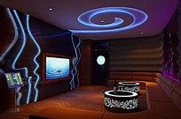 KTV中包间3D模型室内效果图