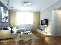 客厅3d模型设计 max