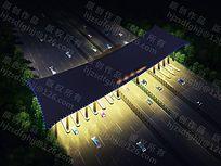 收费站夜景照明设计鸟瞰视点