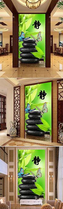 高档鹅卵石蝴蝶玄关背景墙装饰画