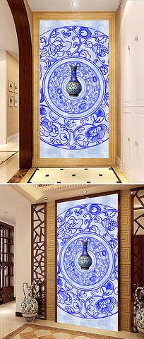 高档特色陶瓷瓷器玄关装饰画背景墙