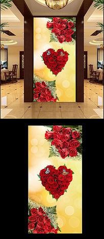 特色高档温馨玫瑰玄关背景墙