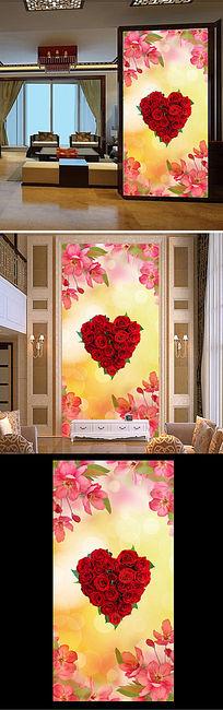 特色高档温馨玫瑰玄关背景墙背景画