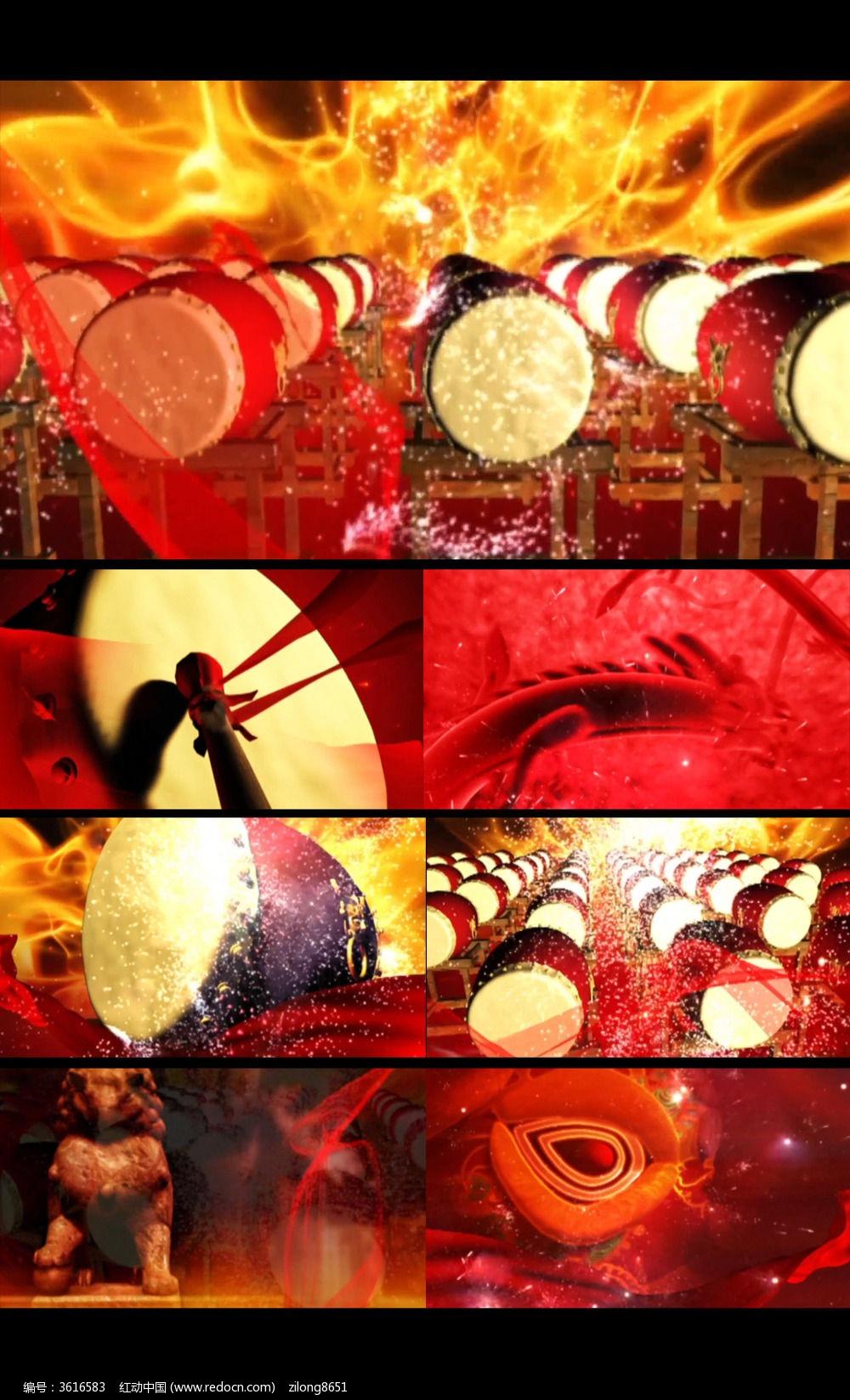 中国红舞台网_中国红击鼓舞台背景高清素材_红动网
