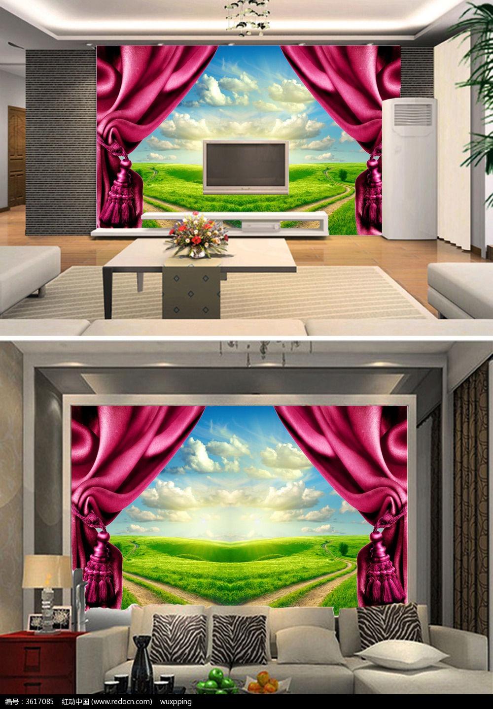 3d欧式风格客厅电视背景墙