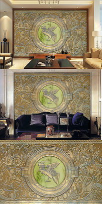 吉祥动物凤凰青铜立体电视墙