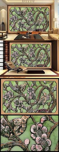 梅花喜鹊浮雕玉雕大理石电视墙