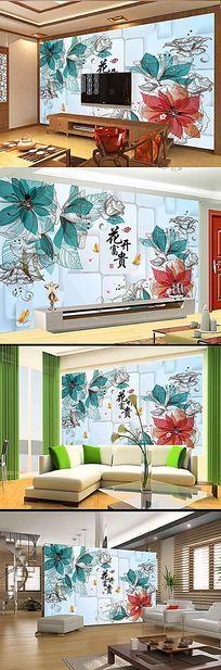 手绘梦幻花卉创意方框背景墙