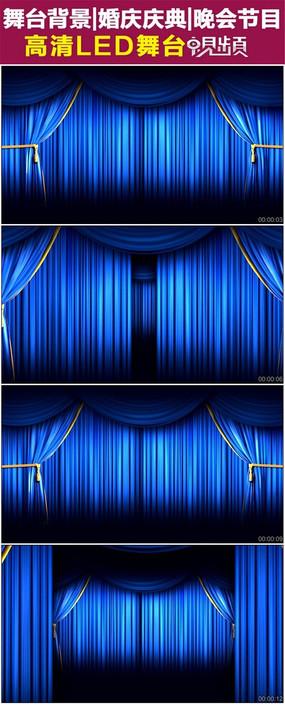 循环蓝色舞台幕布拉开动画视频素材