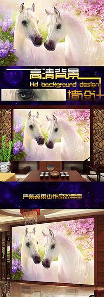 高清手绘油画梦幻鲜花与马