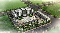 交通局办公楼大院鸟瞰3D模型及效果图