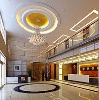 酒店客房部一层接待大厅3D模型效果图