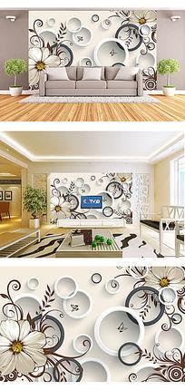 艺术花纹3D电视背景墙