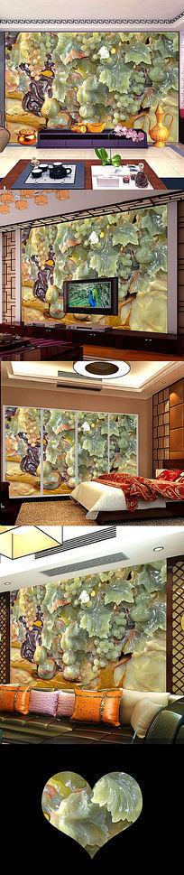 立体玉雕浮雕浪漫彩树电视背景墙壁画设计