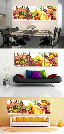 时尚温馨厨房餐厅水果三联无框画