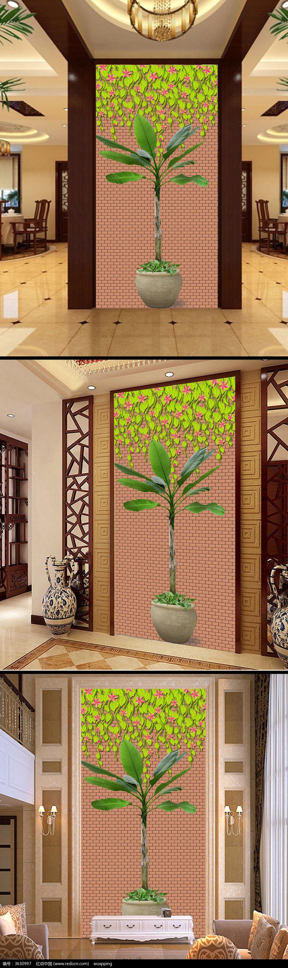 原创设计稿 装饰画/电视背景墙 玄关隔断 特色树木盆栽艺术园艺景观